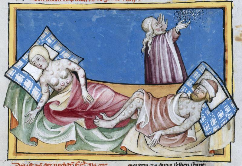 Byllepest, framstilt i Toggenburg-bibelen fra 1411. (Kupferstichkabinett, Staatliche Museen zu Berlin) (Foto/Photo)