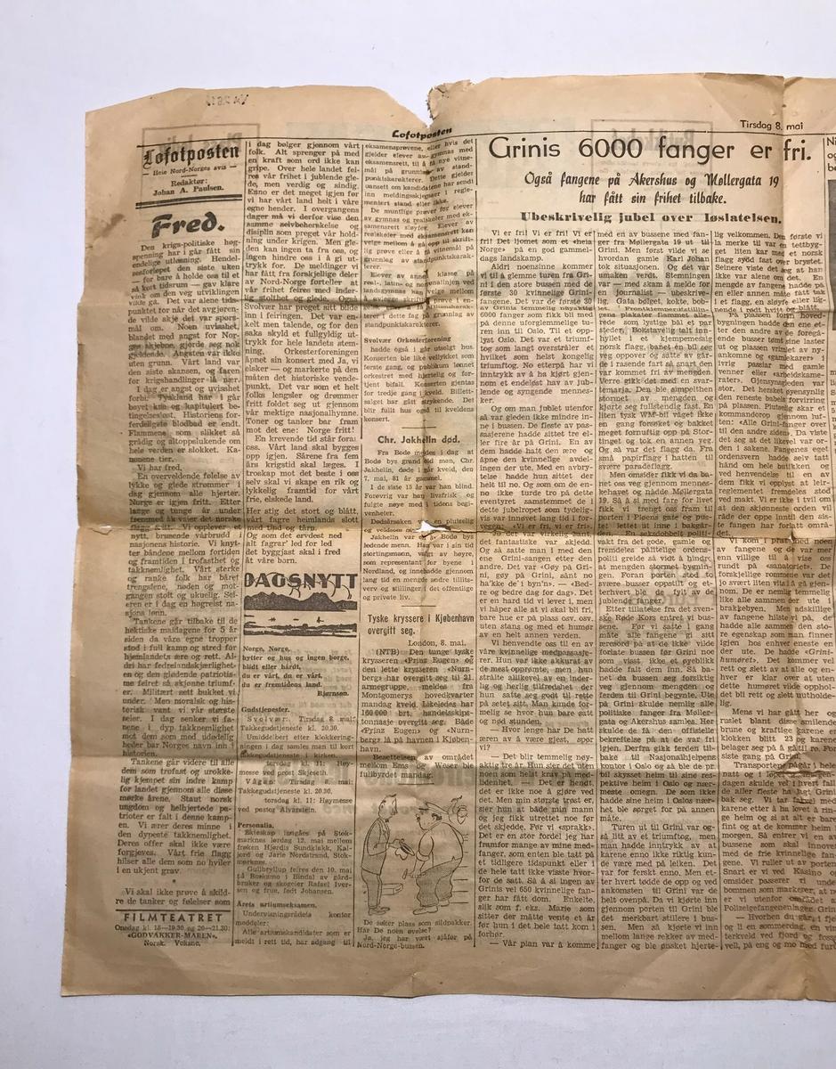 """Lokalavis, Frigjøringen av Norge, 8. mai 1945. """"Norge er igjen fritt"""","""
