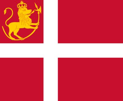 Norges flagg fra 1814 til 1821 er som det danske, men med den norske riksløven i hjørnet. (Foto/Photo)