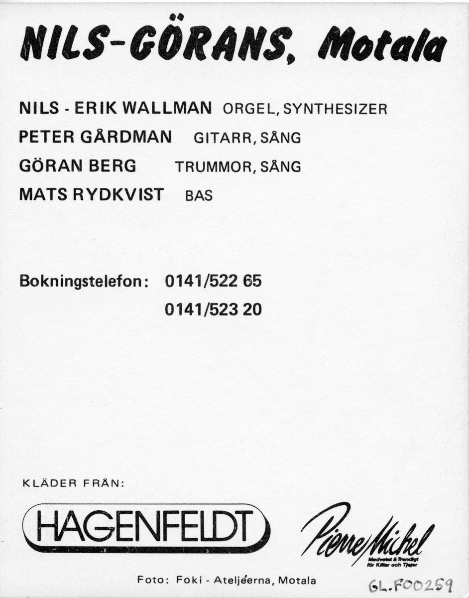 Vykort på dansbandet Nils-Görans. från Motala.