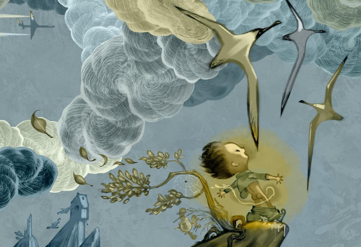 """Illustrasjon av Svein Nyhus til boken """"Steder å tisse"""": En gutt står og tisser i friluft, høyt på en klippe med måkene flyvende over seg. (Foto/Photo)"""