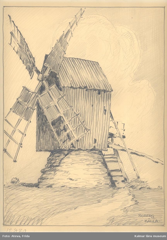 Motivet föreställer en väderkvarn i Källa socken.
