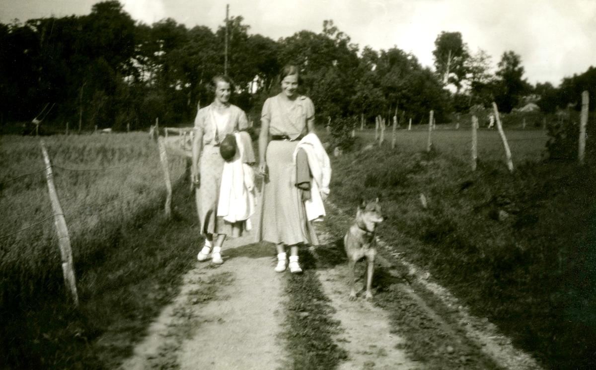 """Systrarna Astrid (1907 - 1994, gift Jägerström, Råda) och Ingeborg Gustafsson (1901 - 1987, gift Johansson) promenerar på en landsväg tillsammans med en hund i koppel, Kållered Stom """"Nygård"""" okänt årtal."""