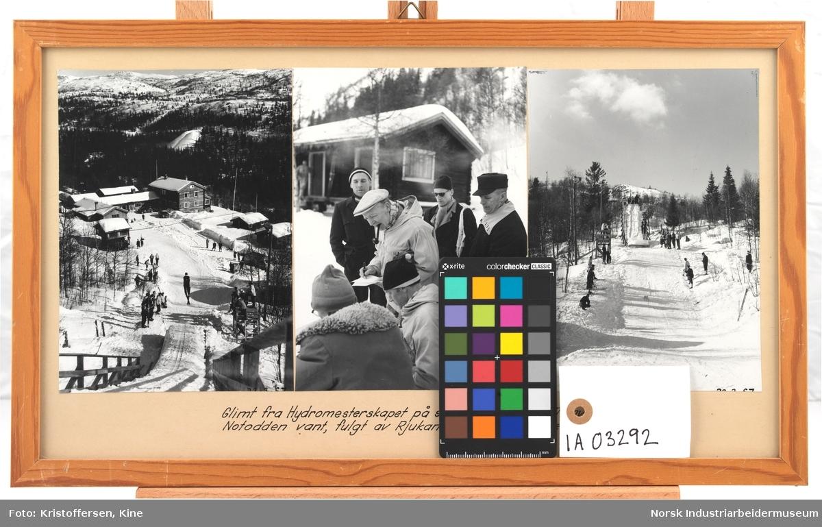 Glimt fra Hydromesterskapet på ski på Fjellstua 1957, hvor Notodden vant, fulgt av Rjukan, Eidanger og Hovedkontoret.  Første bilde: Skihopper letter fra hoppbakken ned til tilskuere. Fjellstua i bakgrunn. Andre bilde: Menn sitter og står i snøen, i bakgrunn en husbygning. Den ene mannen med skyggelue og pipe skriver i en bok. Tredje bilde: Skibakken sett fra Fjellstua og opp. Mennesker som står langs bakken.