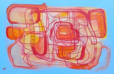 Abstrakt kaos i rød- og gultoner på lyseblå bakgrunn.. Foto/Photo