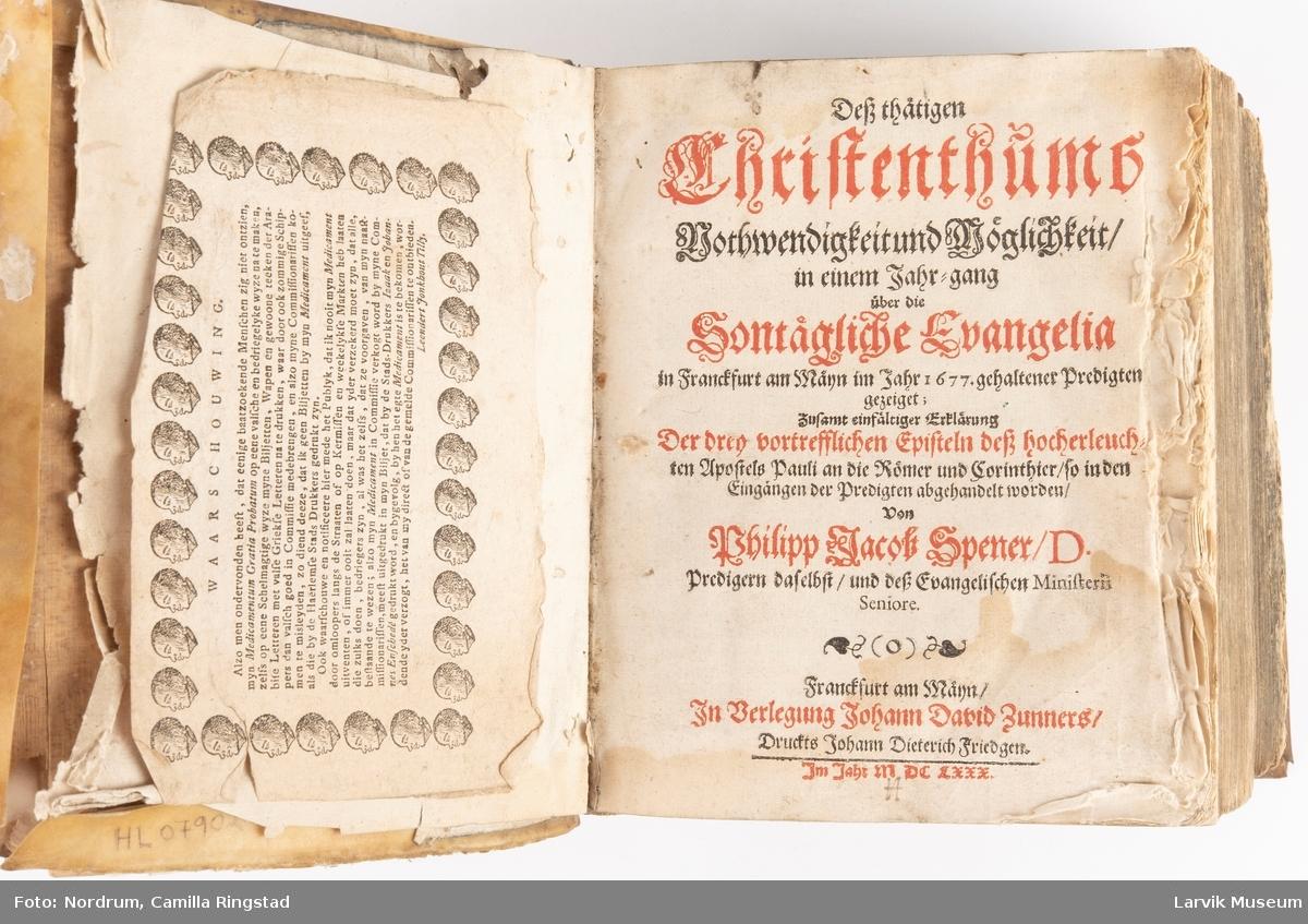 Daglig kristne taler og epistler fra 1677 Utgitt i 1680 i Frankfurt am Main
