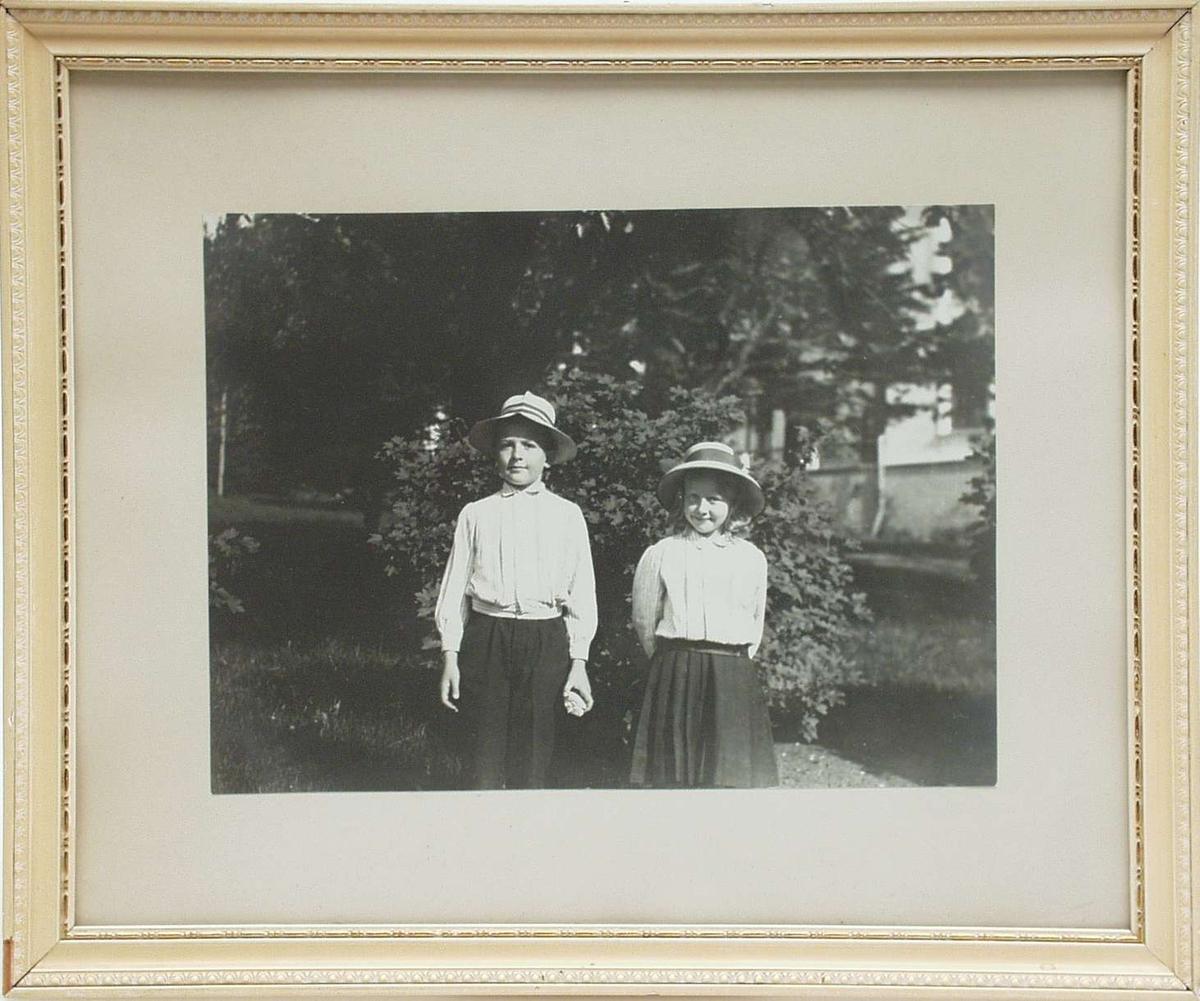 Fotografi innrammet med hvit og gyllen treramme.