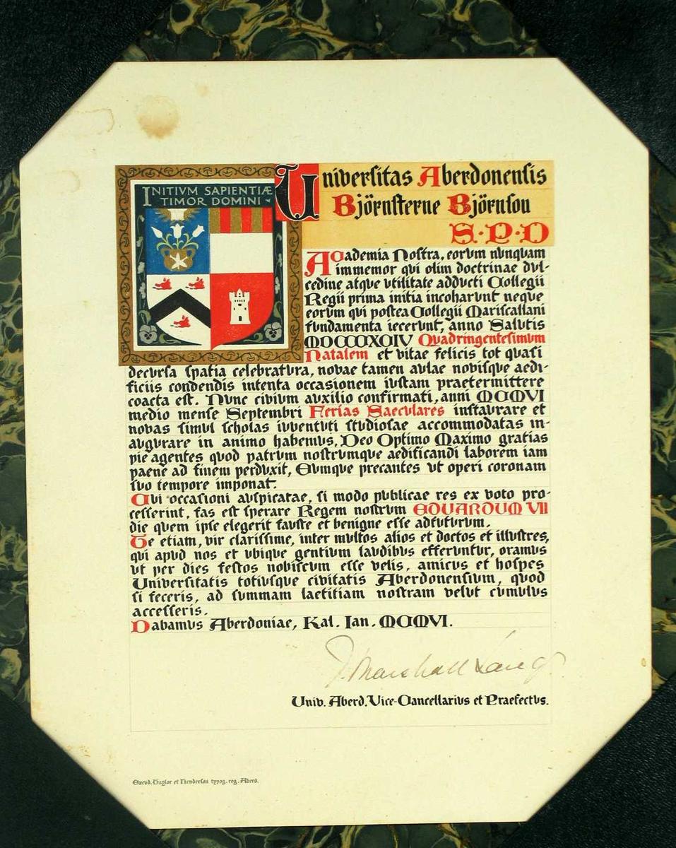 Adresse med grønn pappstøtte. Adressen er skrevet med gotiske bokstaver i svart, rødt, blått og gull.