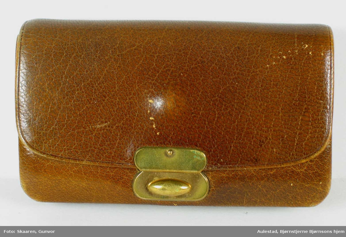 Portemoné i glatt lysebrunt skinn. Innvendig fem åpne rom og et lukket med klaff og trykknapp. På baksiden en åpen lomme.