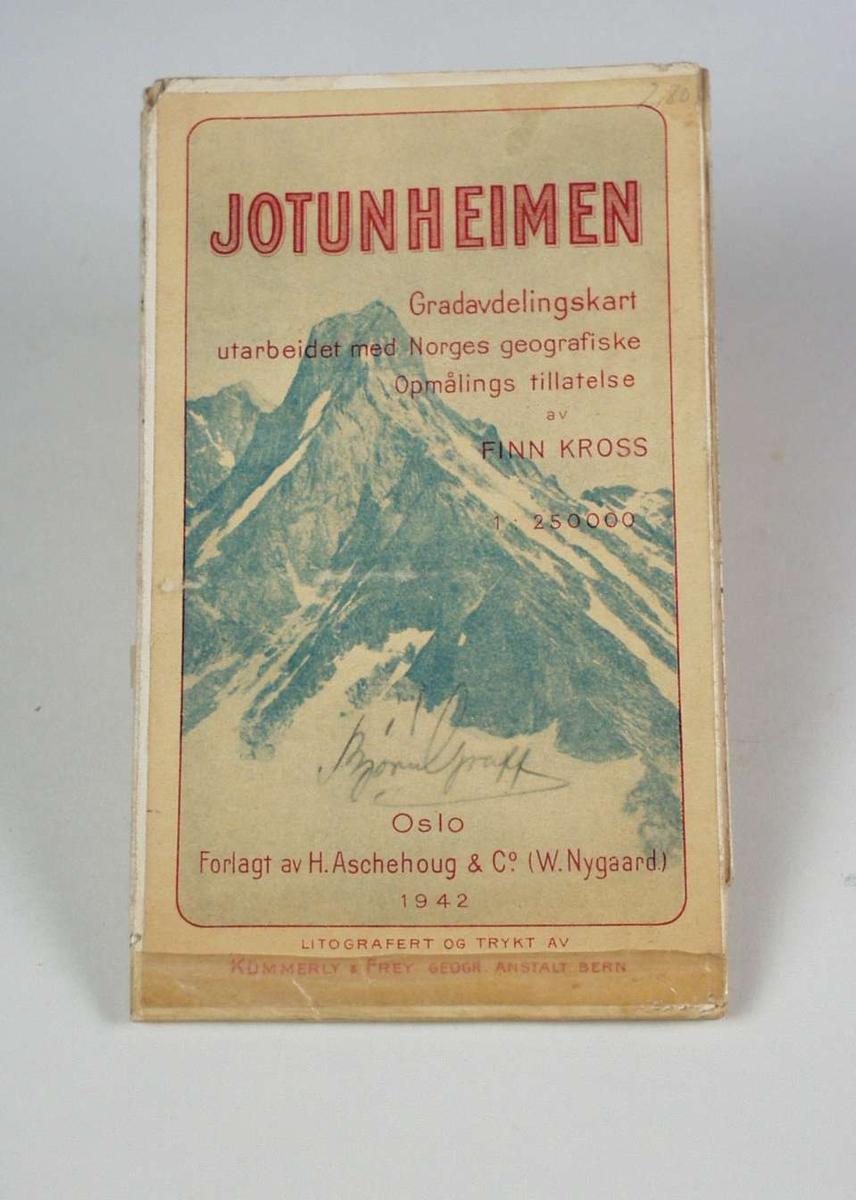 Et kart over Jotunheimen i farger i målestokk 1 : 250000. Kartet er tapet i sammenbretningene.