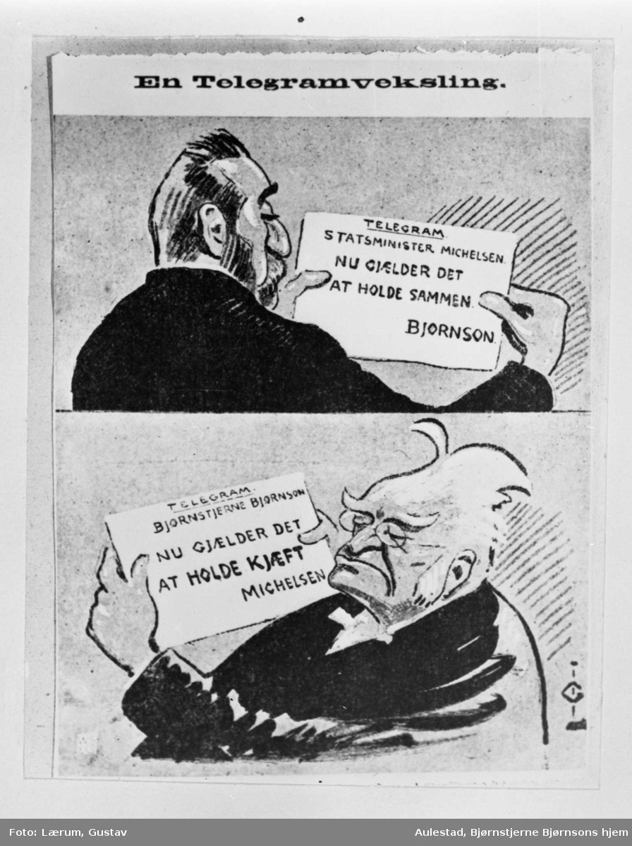 Karikatur, Bjørnson, Michelsen, telegram,
