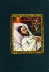 Postkort, L.W.T Bratz, Henrik Wergeland på dødsleiet,