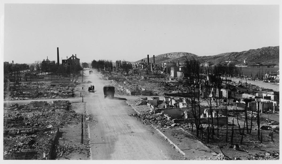 krigen, Bodø, Dronningensgate, ruiner