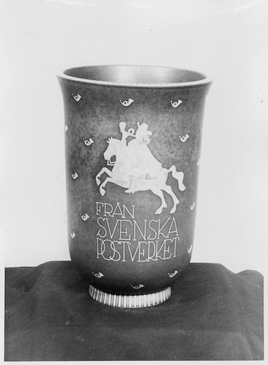 postjubileum, postverkets 300 års jubileum, vase, gave fra det svenske til det norske postverk, från svenska postverket