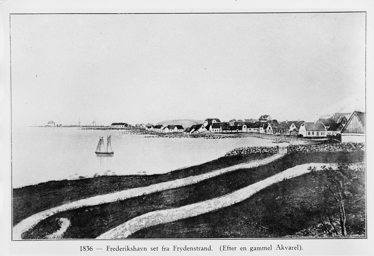 foto av tegning, Fredrikshavn, båt, hus