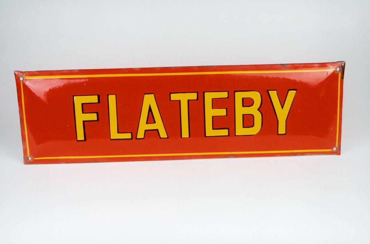 Postmuseet, gjenstander, skilt, stedskilt, stedsnavn, Flateby.