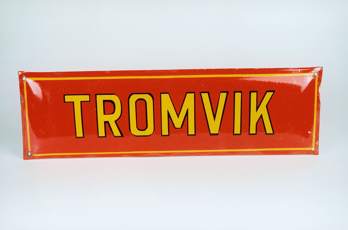 Postmuseet, gjenstander, skilt, stedskilt, stedsnavn, Tromvik.