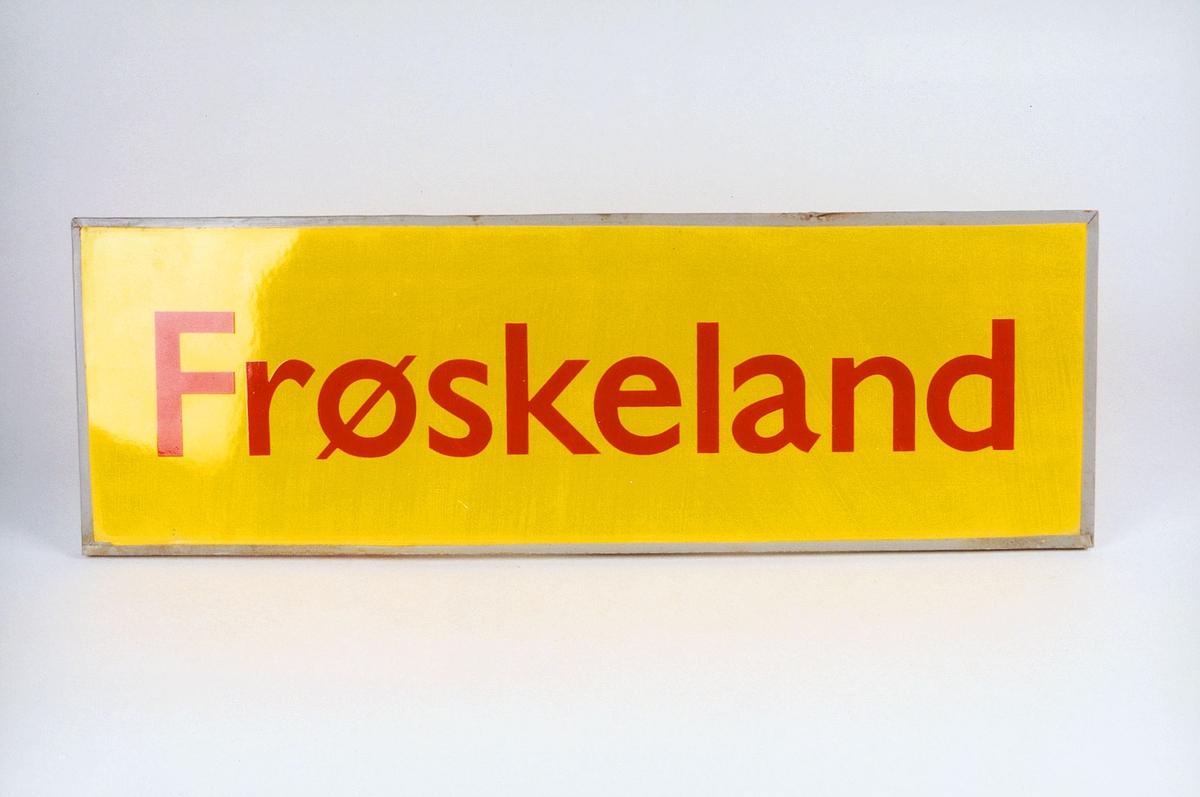 Postmuseet, gjenstander, skilt, stedskilt, stedsnavn, Frøskeland.