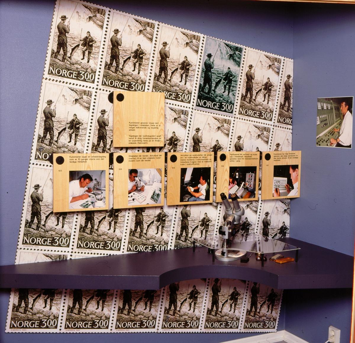 postmuseet, Kirkegata 20, interiør, utstilling, frimerkegangen, frimerkeproduksjon, tegning, gravering, trykking, perforering, NK 948, Laksefiske