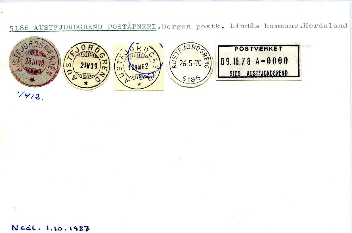 Stempelkatalog, 5186 Austfjordgrend (Austfjordgrenden), Bergen, Lindås, Hordaland