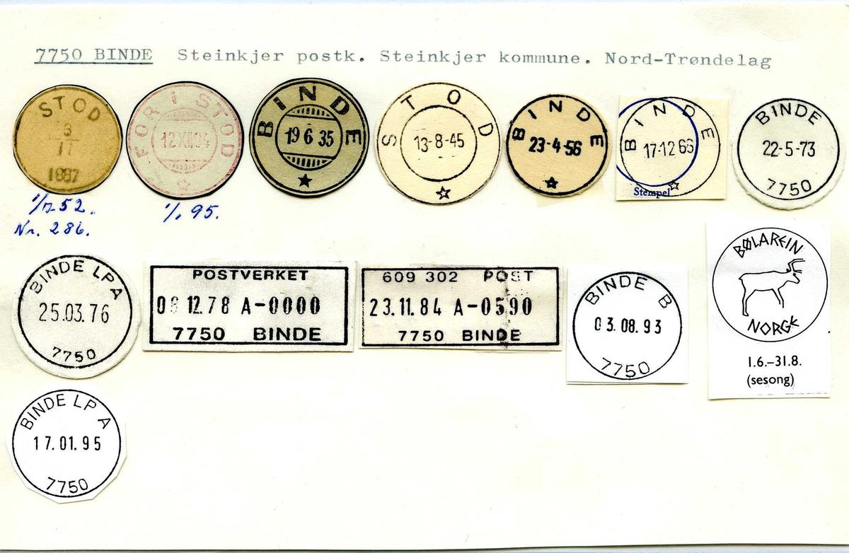 Stempelkatalog,  7750 Binde, Steinkjer postk, Steinkjer kommune, Nord-Trøndelag