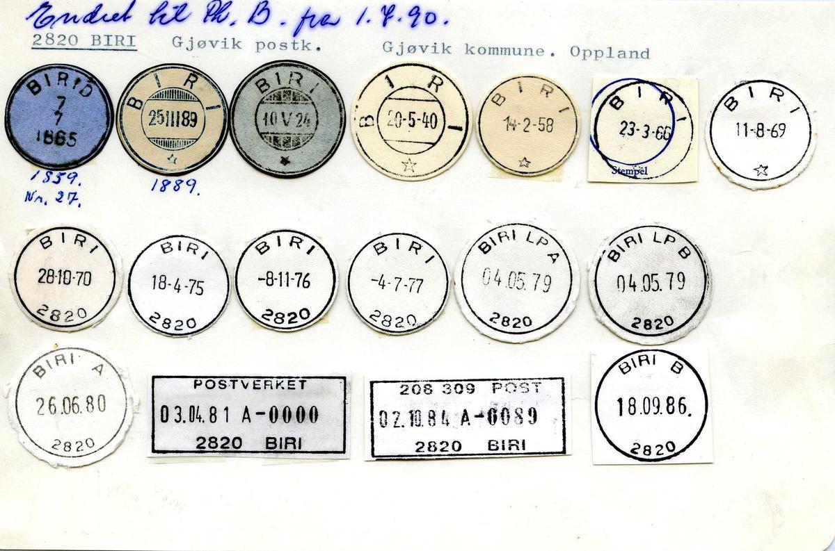 Stempelkatalog, 2820 Biri, Gjøvik postkontor, Gjøvik kommune, Oppland fylke. Postkontor B fra 01.07.1990.