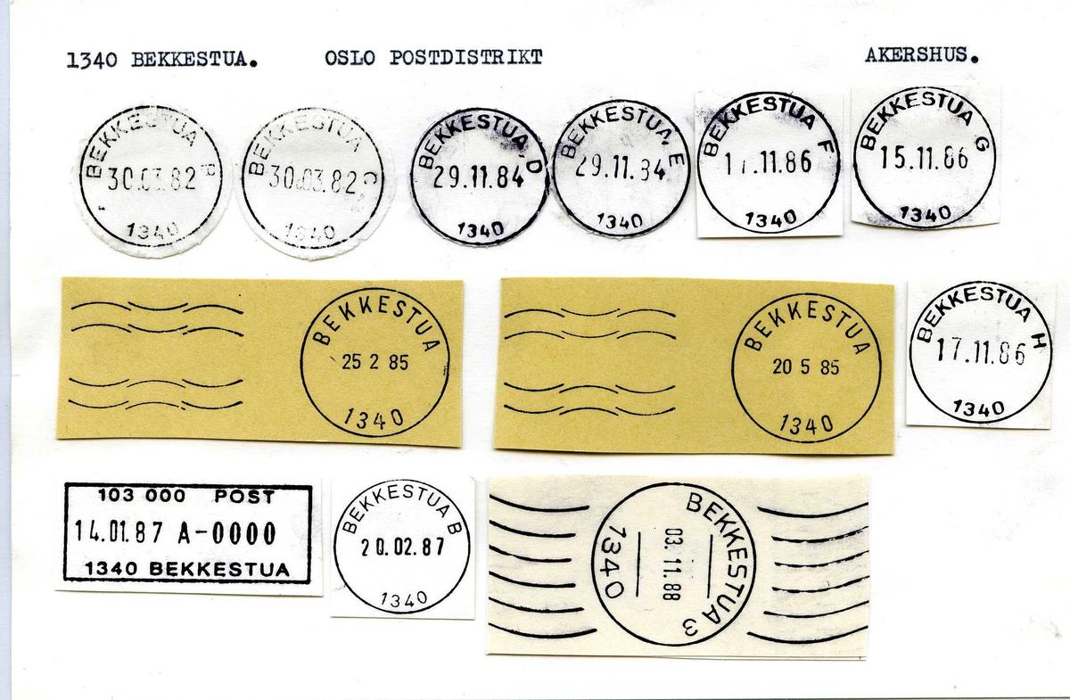 Stempelkatalog,  1340 Bekkestua, Oslo postdistrikt.Akershus.