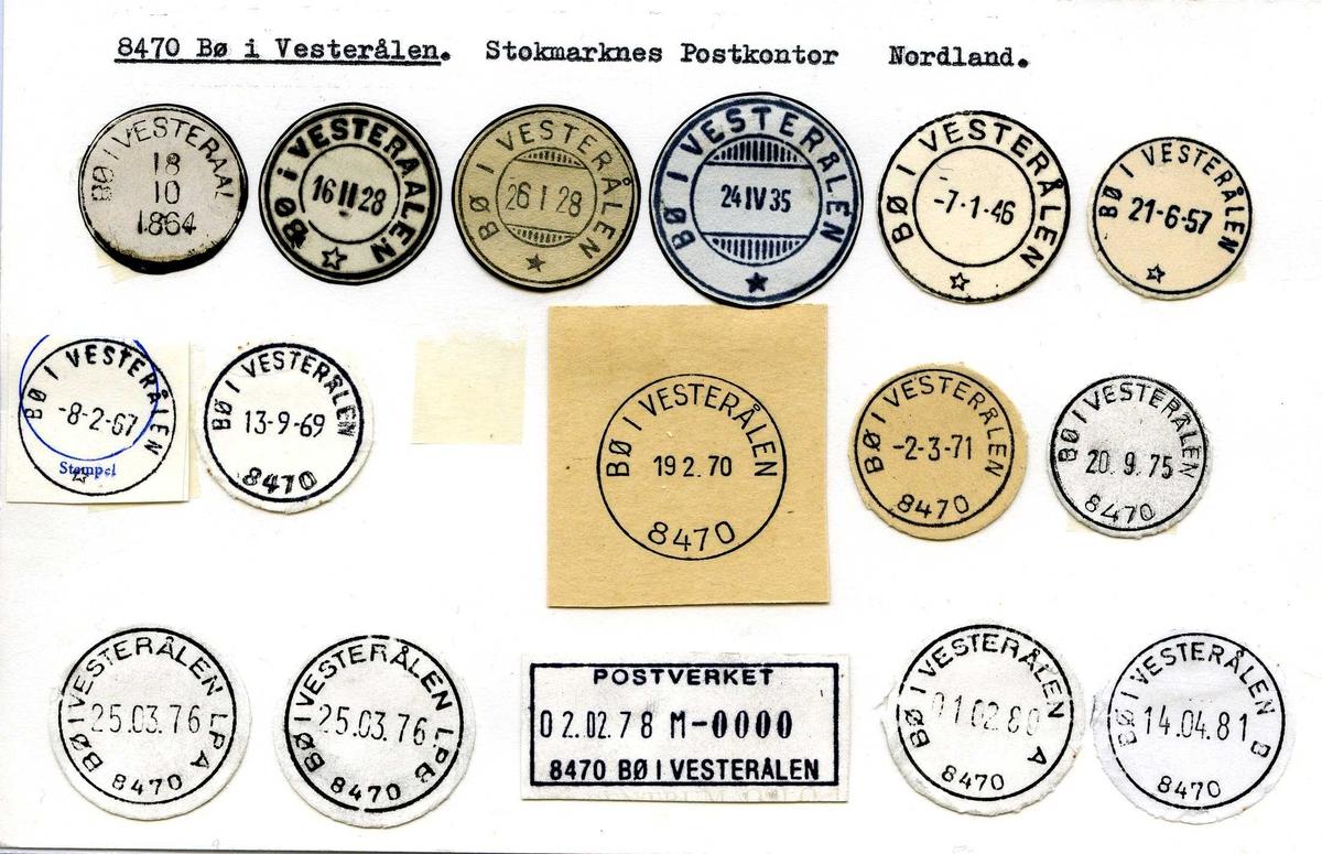 Stempelkatalog, 8470 Bø i Vesterålen. Stokmarknes (Sortland) postkontor. Bø kommune. Nordland fylke.