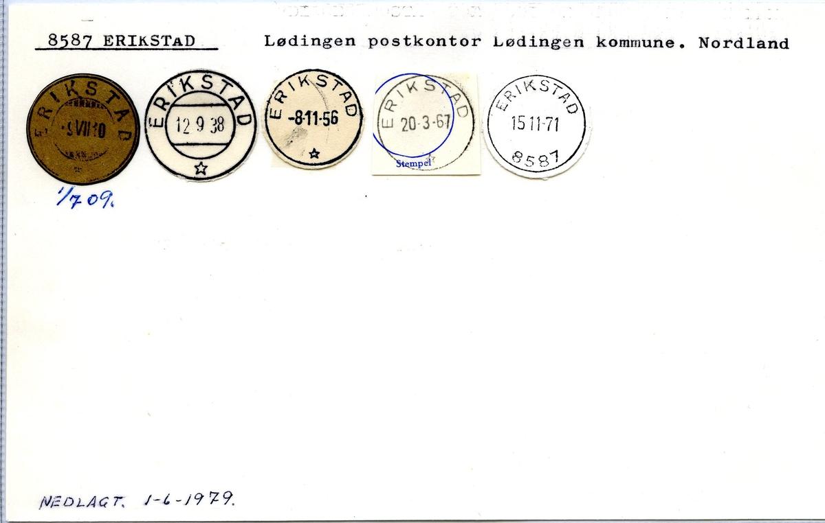 Stempelkatalog,8587 Erikstad, Lødingen postk., Lødingen komm., Nordland