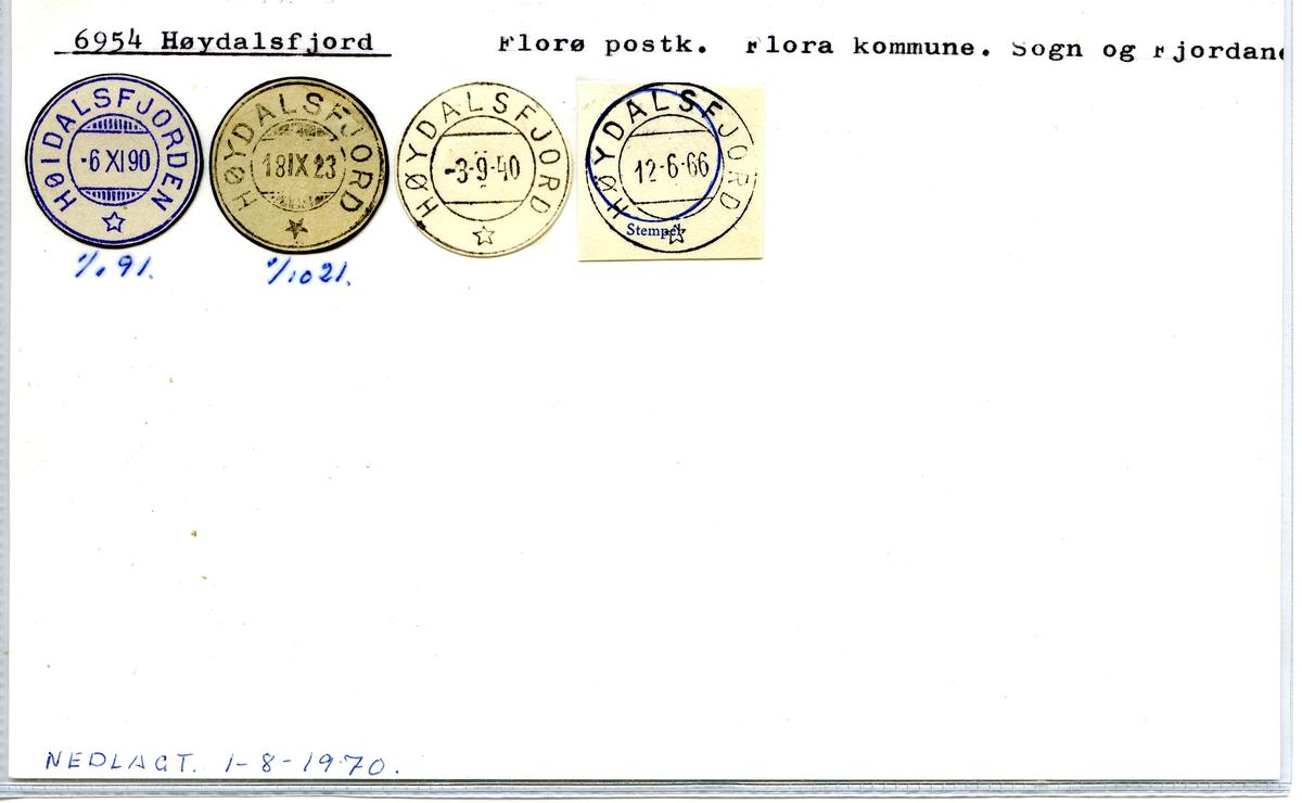 Stempelkatalog. 6954 Høydalsfjord. Florø postkontor, Flora kommune, Sogn og Fjordane fylke.