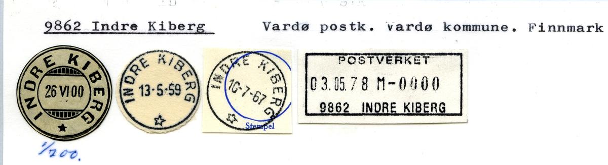 Stempelkatalog. 9862 Indre Kiberg. Vardø postkontor. Vardø kommune. Finnmark fylke.