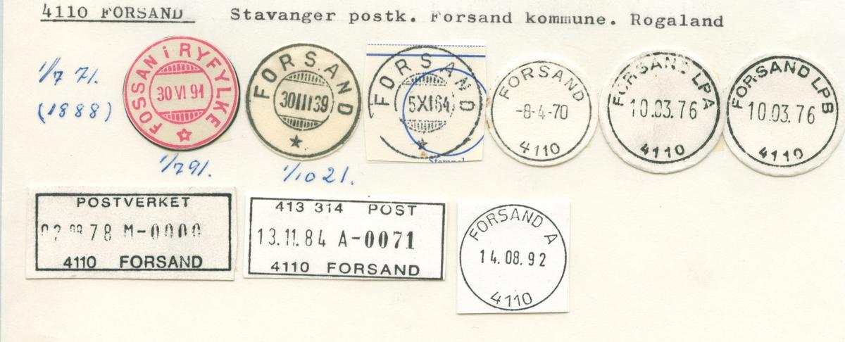 Stempelkatalog 4110 Forsand, (Fossan i Ryfylke), Forsand, Rogaland