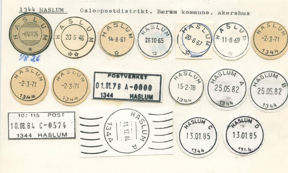 Stempelkatalog 1344 Haslum. Bærum, Akershus