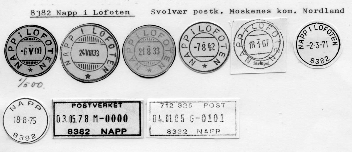 Stempelkatalog 8382, Napp i Lofoten, Svolvær, Moskenes, Nordland