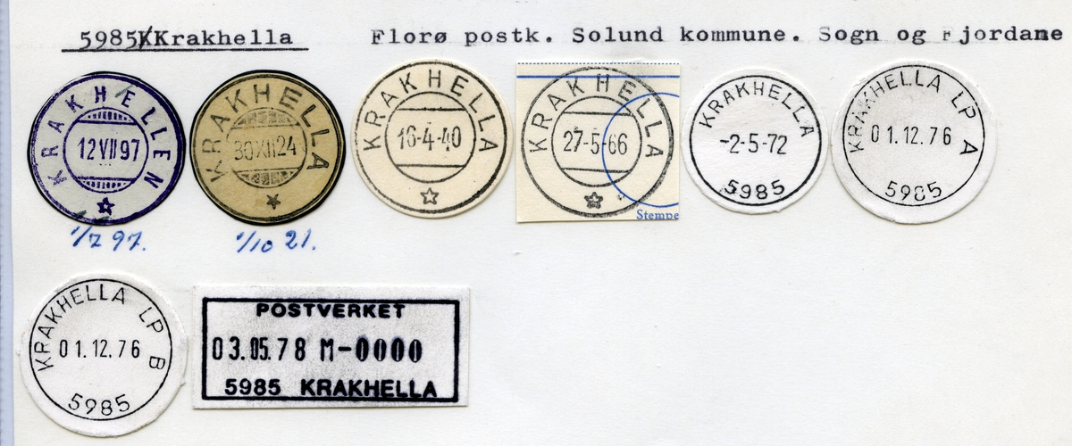Stempelkatalog 5985 Krakhella (Krakhellen), Florø, Solund, Sogn og Fjordane