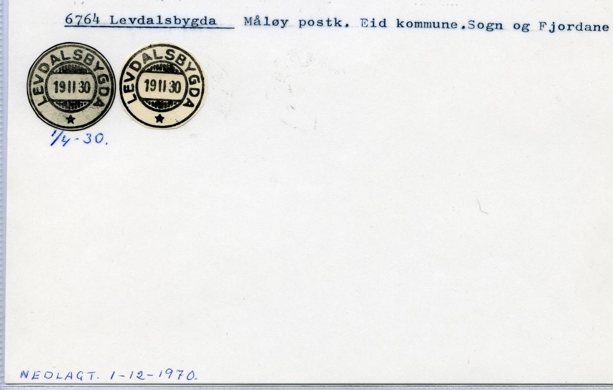 Stempelkatalog 6764 Levdalsbygda, Måløy, Eid, Sogn og Fjordane