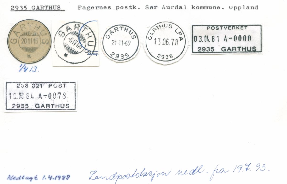 Stempelkatalog 2935 Garthus, Fagernes, Aurdal, Oppland