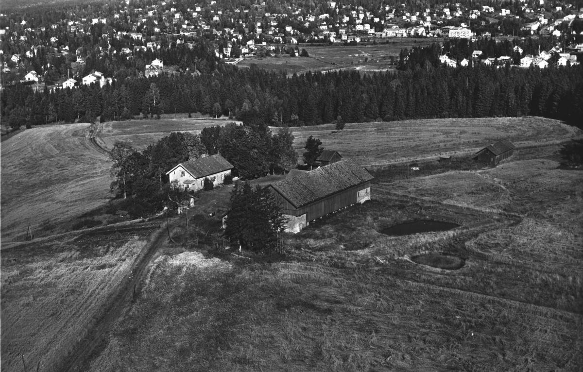 Flyfoto av Torshov gård med gårdsdam.  Fjellhamar i bakgrunnen.