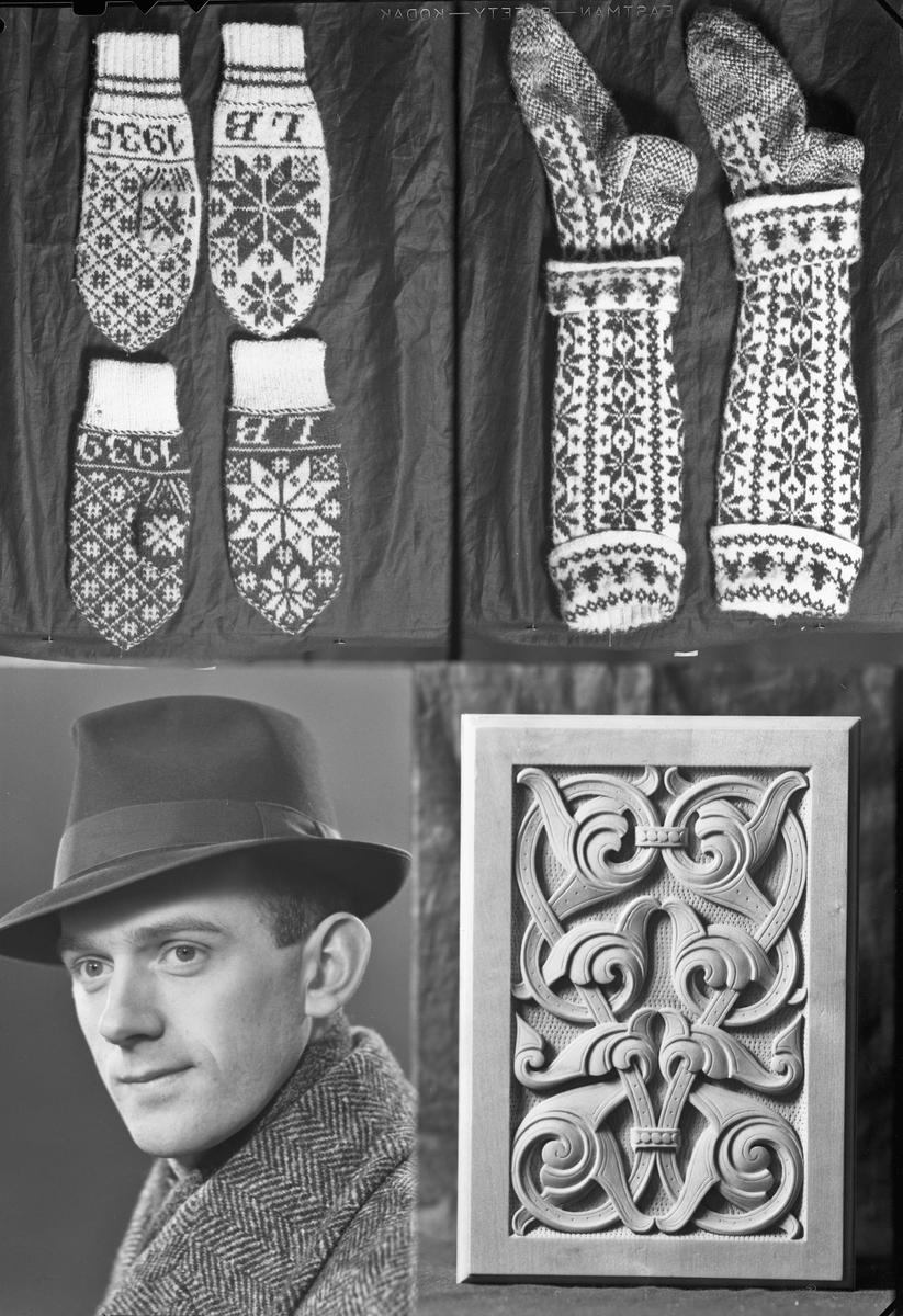 Mann, strikkede votter og strømper. Treskjæring. LB 1935 og LB 1939 er strikket inn i vottene.
