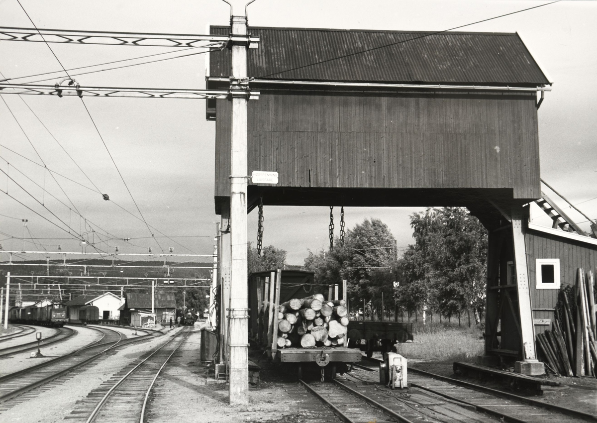 Skifting med lok 7 Prydz og El.10.2511 på Sørumsand stasjon.  Tømmervogn klar for omlasting under portalkranen.