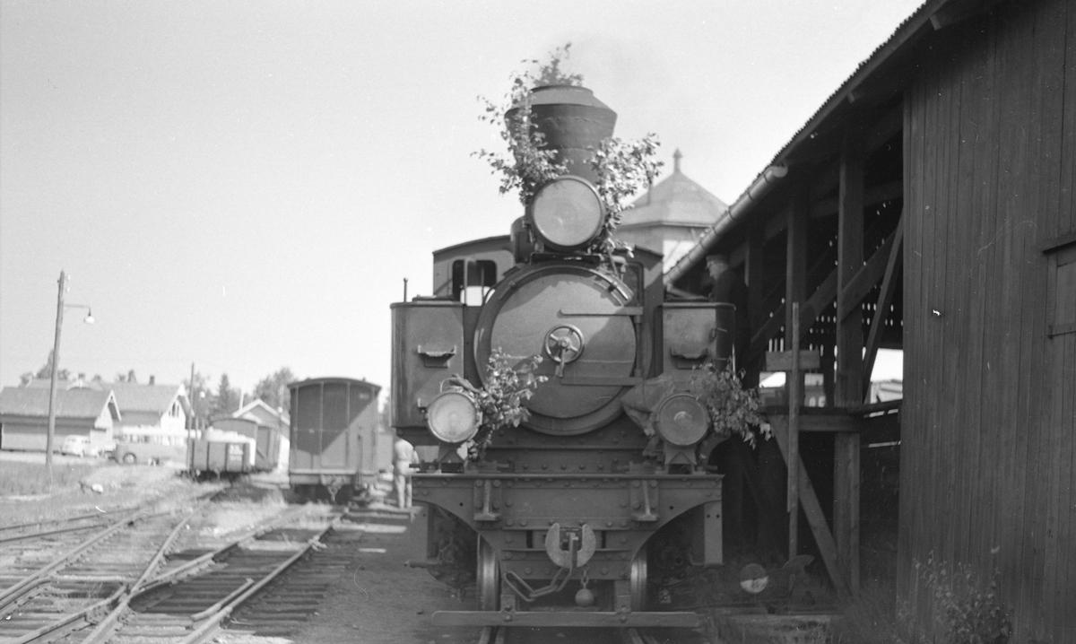 Tog til Skulerud under oppholdet på Bjørkelangen. Lokomotivet er pyntet med bjerkeløv i anledning St. Hans.