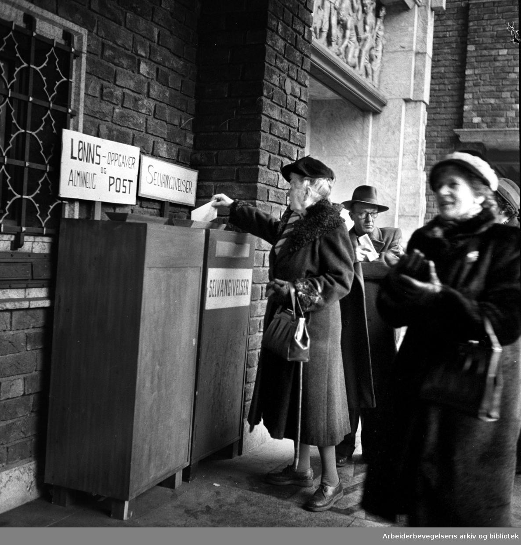 Innlevering av selvangivelsen, .31. januar 1958