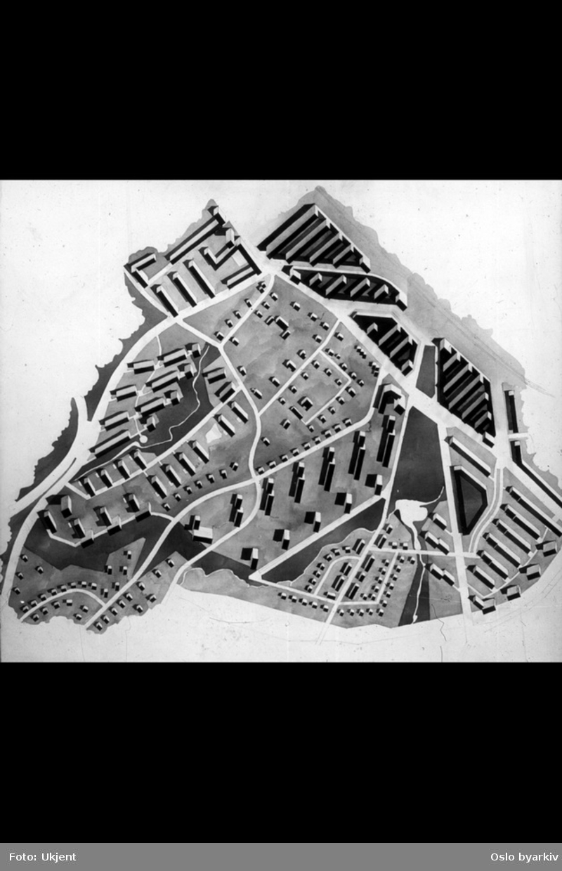 Karttegning med bebyggelsesplan over Skøyen