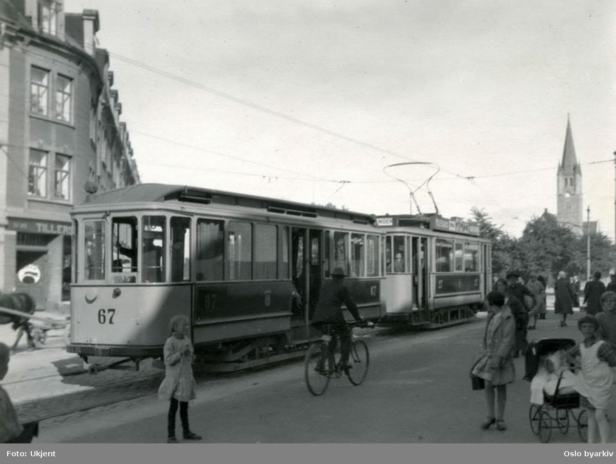 HaWa-vogn (nyere tilhengervogn) fra Trondheims sporveier, linje mellom Lademoen og Ilen.