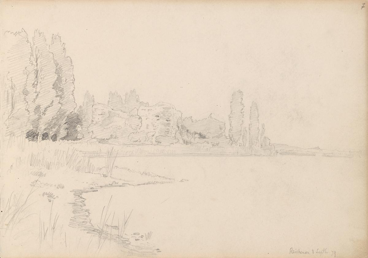 Strand med popler, Reichenau [Tegning]