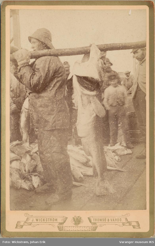 Fiskearbeid på kai, antatt Vardø