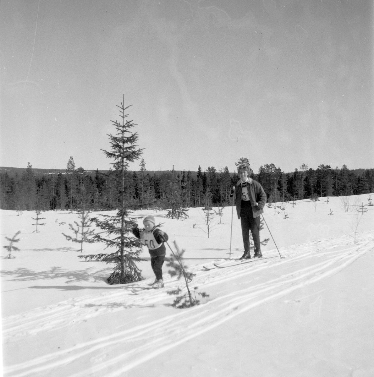 Pilkeskirennet, konkurranse med både skirenn og pilke konkurranse. Moelven. Vinter, snø. Moelven foto 1970.