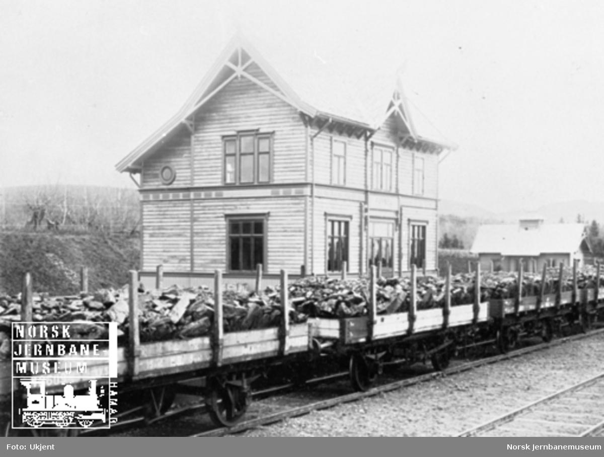 Tog med stein på Jessnes stasjon under baneanlegget