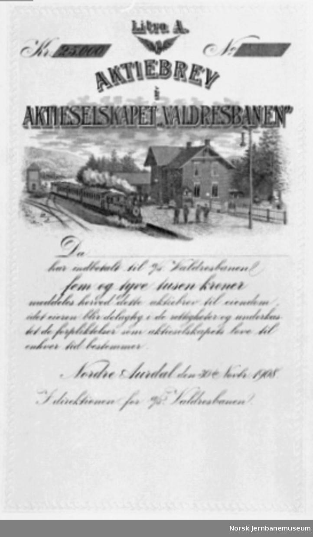 Aksjebrev i Valdresbanen