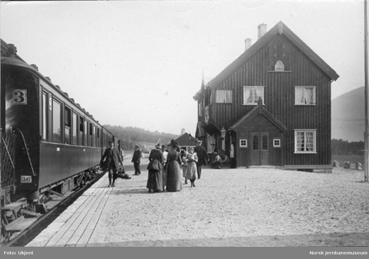 Dovre stasjon kort tid etter banens åpning : persontog i spor 1
